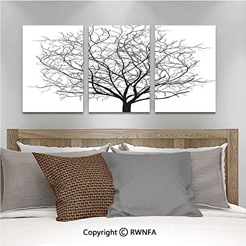 3PCS Triple Decoration Painting an Old Withered Oak Crown Without Leaves Tree Branches Illustration Living Room Dining Room Studying Aisle Painting,19.7