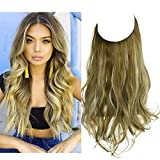SARLA Hair Extension Halo Green Brown With Beach Blonde Highlight Curly Short Synthetic Hairpiece 12 Inch 3.5 Oz Hidden Wire Headband for Women Heat Resistant Fiber No Clip (M05&M6PH613)