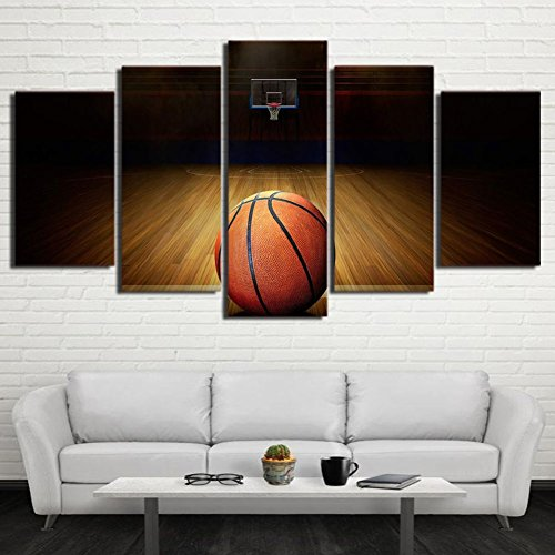 Basketball Wall Decor (Canvas Art HD Printed Basketball Course Painting Wall Pictures For Gym Decor Modular Framed Painting Home Decor 5 Piece)