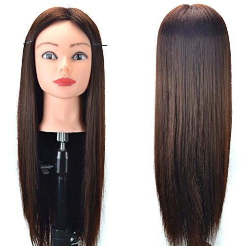 oldeagle Mannequin Head Hair Styling Wig Practice Training Head manikin Cosmetology Doll Head Synthetic Fiber Hair (B)