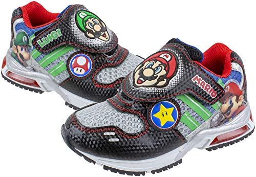 Super Mario Brothers Mario and Luigi Kids Sneaker, Light Up Mix Match Runner Trainer, Kids Size 3 Black