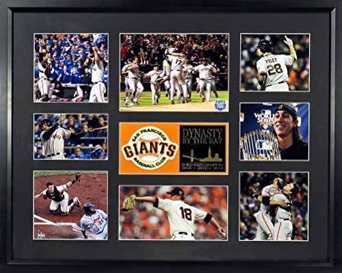 SF Giants 2010-2012-2014 World Series Champions Collage Patch Display (Feat. Posey, Bumgarner, Lincecum & More!) Framed