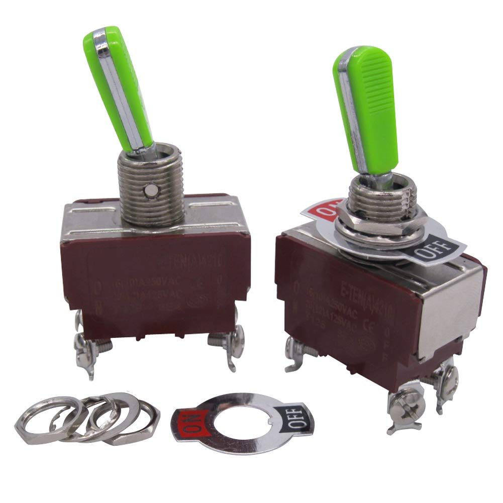 Tiass 2pcs Univeral Heavy Duty 20A 125V DPST 4 Terminal ON//OFF Rocker Toggle Switch Plastic Metal stainless steel Top grade handle E-TEN-4210GG