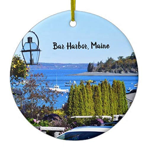 - Cheyan Bar Harbor Round Xmas Trees Home Decorated Ceramic Ornaments Porcelain Ornament Personalize Souvenir
