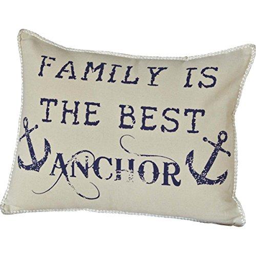 VHC Brands Creme White Coastal Decor Family Anchor 14x18 Pillow