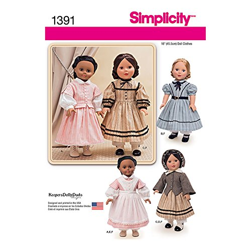 Simplicity Creative Patterns 1391 Civil War Doll Costume for 18-Inch Doll