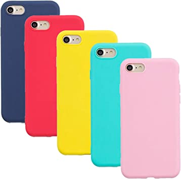 HereMore 5 x Coque pour iPhone 5S / iPhone 5, Etui iPhone Se TPU Gel Silicone Souple Coque Cover Ultra Mince Doux Soft Case Housse Protection Anti ...