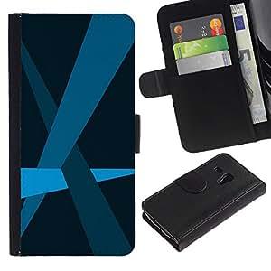 Samsung Galaxy S3 MINI / i8190 (Not For Galaxy S3) Modelo colorido cuero carpeta tirón caso cubierta piel Holster Funda protección - Blue Lines Pastel Minimalist
