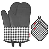 esonmus Heat Resistant Silicone Oven Gloves Non-Slip Oven Mitts + 2 Cotton Pot Holders for Kitchen Cooking Baking Grilling Barbecue-Black Plaid ...