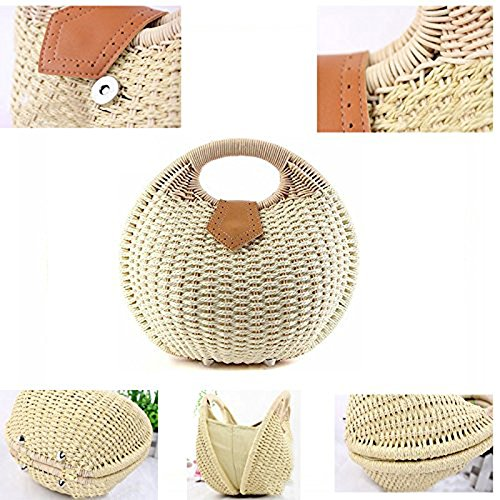 R¨¦tro Paille Mignon Sac Sac Bouton Femmes Totes Pt3 Paille Tiss¨¦s Abuyall Rondes De Shell Plage De OwfqnYB