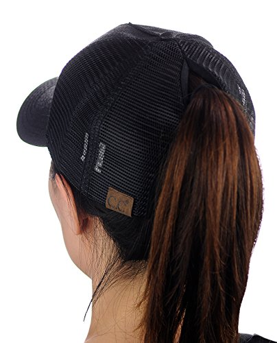 C.C Ponycap Messy High Bun Ponytail Adjustable Glitter Mesh Trucker Baseball Cap, Black