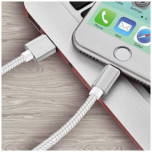 Armour iPhone Charger Cable 3 Pack [1m 2m 2m] – Fast Nylon Braided Lightning lead compatible with iphone 11/XR/XS/XS Max/X/8/8Plus/7/7Plus/6/6s/6Plus/5/5c/SE, iPad pro/mini/Air – Pearl Silver