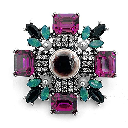 DREAMLANDSALES Antique Green and Pink Crystal Round Stone Art Deco Super Star Brooches