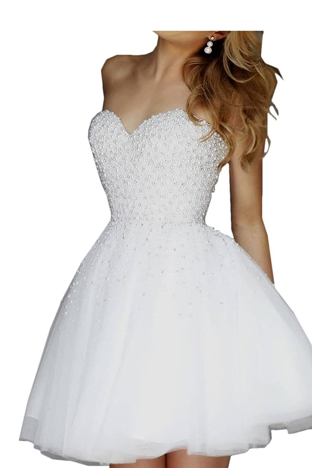 Audrey Bride Girl's Homecoming Dresses With Pearl Prom Dresses
