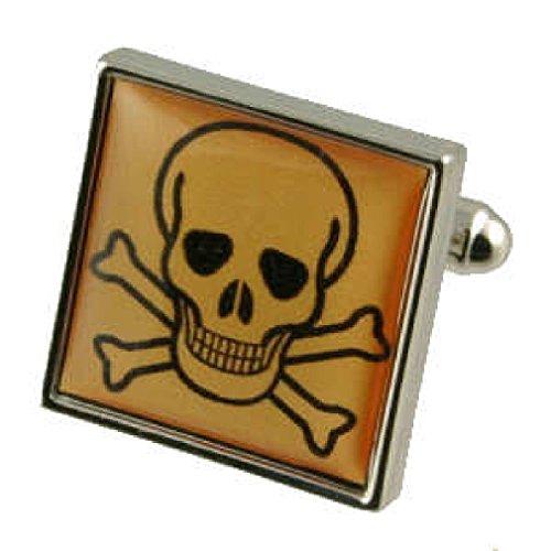 Boutons de manchette Boutons de manchette Poison ~ signe d'avertissement Toxique ~ signe de danger Cufflinks Select Pouch cadeau