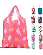 Reusable Shopping Bags Foldable Washable Lightweight Ripstop Polyester Grocery Tote Bags 10 Pack