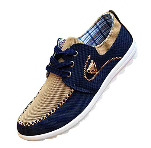 Flat Men Casual Shoes (New Casual Sneakers For Men Comfortable Mens Shoes Brown 9.5)