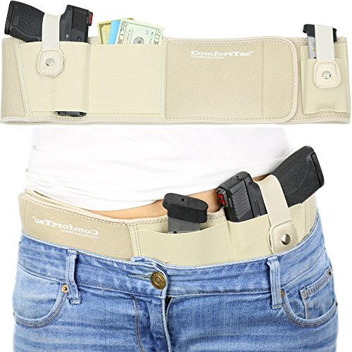 Ultimate Belly Band Holster for Concealed Carry   Nude   Fits Gun Smith and Wesson Bodyguard, Shield, Glock 19, 17, 42, 43, P238, Ruger LCP, and Similar Sized Guns   For Men and Women (Left)