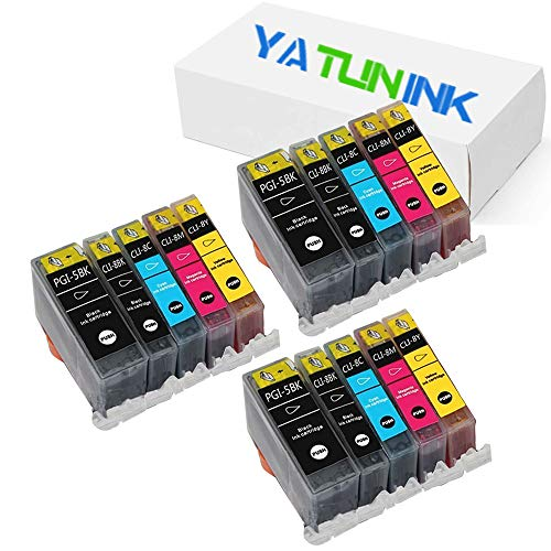 Inkjet Chip - YATUNINK Compatible Ink Cartridge Replacement for Canon PGI-5BK CLI-8BK CLI-8C CLI-8M CLI-8Y Compatible Inkjet Cartridge with Chip for Pixma MP500 MP530 MP600 MP800 (15 Pack)