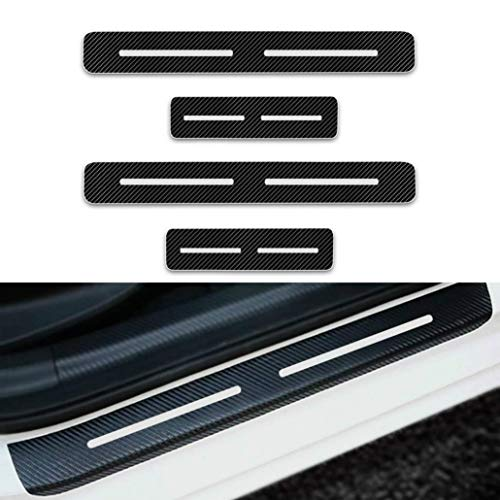 (MyGone for Dodge Dodge Caliber Charger Dart 4Pcs Car Door Sill Protector, 3D Reflective Carbon Fiber Vinyl Scuff Plate Guards Protective Anti-Scratch Waterproof Sticker White)