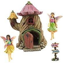 "Fairy Garden House Kit – Miniature Fairies & Accessories – Fairy House 7""High – Door can open wide – Supplies by Pretmanns"