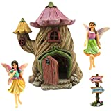 "Fairy Garden House Accessories Kit – Miniature Fairy Figurines – 7"" High House – Door can open wide – Supplies by Pretmanns"