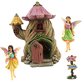 Fairy Garden House Accessories Kit U2013 Miniature Fairy Figurines U2013 7u201d High  House U2013 Door Can Open Wide U2013 Supplies By Pretmanns