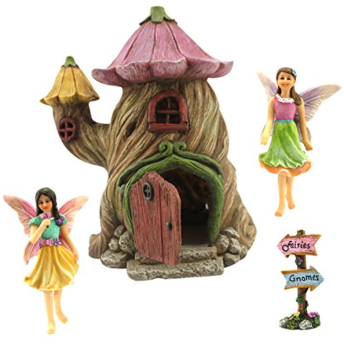 "Fairy Garden House Accessories Kit - Miniature Fairy Figurines - 7"" High House - Door can Open Wide - Supplies by PRETMANNS"