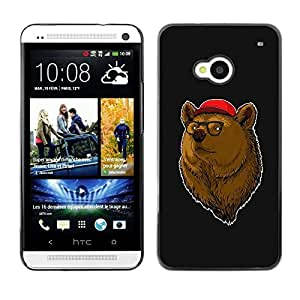 LECELL -- Funda protectora / Cubierta / Piel For HTC One M7 -- Cool Hipster Bear --