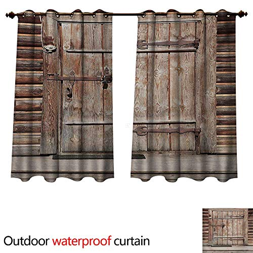 - Rustic Outdoor Ultraviolet Protective Curtains Timber Rustic Door in Wall of an Old Log House Ancient Abandoned Building Entrance Gate W96 x L72(245cm x 183cm)