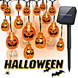 Halloween Pumpkin String Lights,30 LED 21.3 ft Solar Jack-O-Lantern String Lights with 8 Lighting Model for Halloween, Party and Christmas Decoration (Warm White)