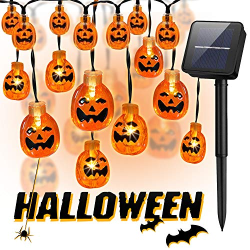 Halloween Pumpkin String Lights,30 LED 21.3 ft Solar Jack-O-Lantern String Lights with 8 Lighting Model for Halloween, Party and Christmas Decoration (Warm White) by LEMENTSTAR