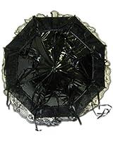 Black Raven Gothic Vinyl and Lace Parasol