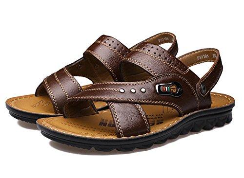 2017 nuevas sandalias de la playa de los hombres, zapatillas de cuero del zurriago de los zapatos transpirables Brown