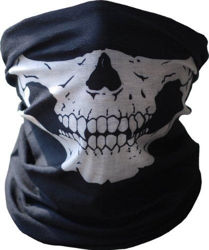 Angelia Black Seamless Half Skull Face Mask for Outdoor Riding Cycling Motorcycle Bike Ski Helmet Wind Veil (Ghost Ski Mask)