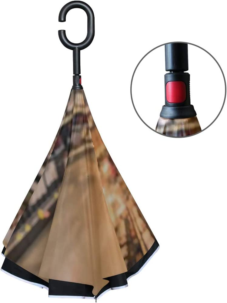 Double Layer Inverted Inverted Umbrella Is Light And Sturdy Blurred Image Wine Shelves Display Supermarket Reverse Umbrella And Windproof Umbrella Ed