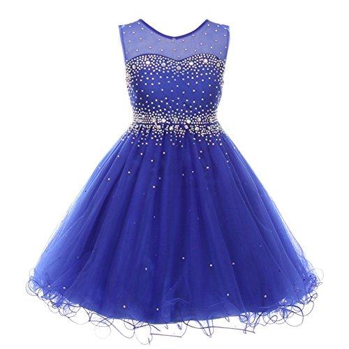(Big Girls Royal Blue Sparkling Rhinestone Illusion Tulle Party Formal Dress 10)