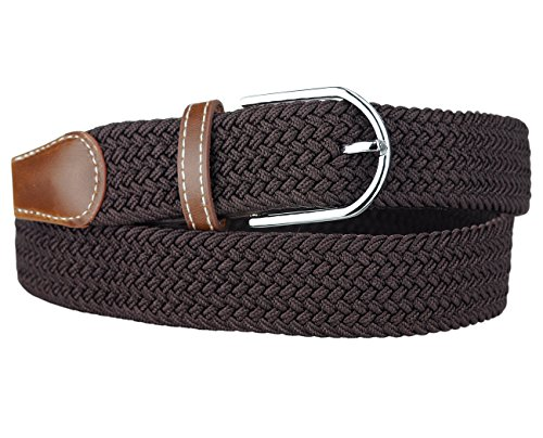 NYFASHION101 Rounded Metal Buckle Brown Inlay Elastic Braided Woven Stretch Belt, Chocolate Brown - XL