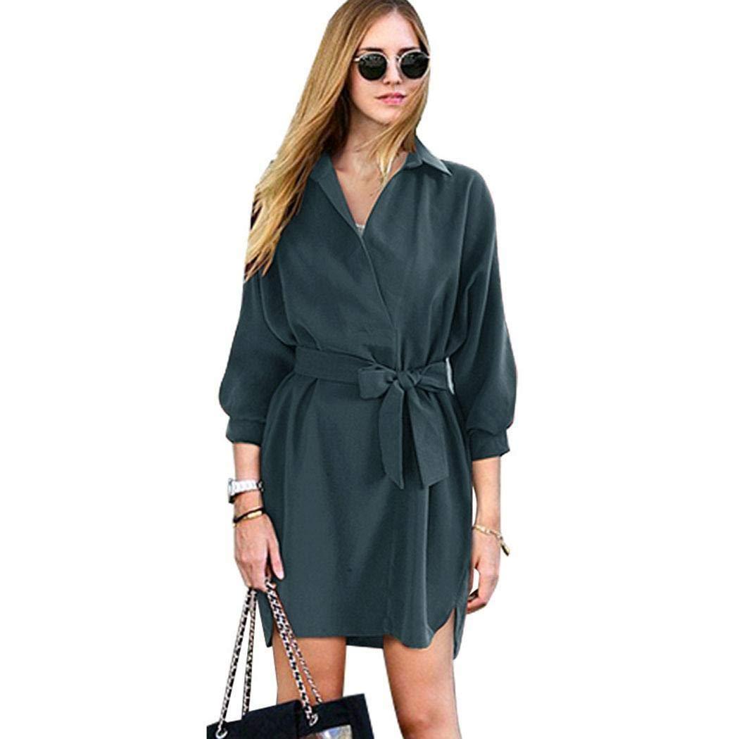 kiloid Women Casual Turn-Down Collar 3/4 Sleeve Solid Lace-up Irregular Hem Dress Dresses Dark Green