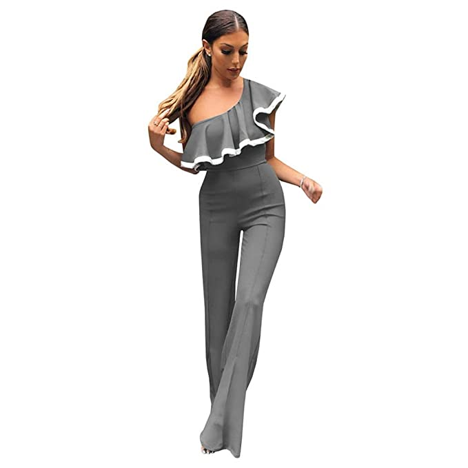 2af245a3e3b TOOGOO(R) New Fashion One Off Shoulder Ruffles Rompers Womens Jumpsuits  Elegant Fitness Wide