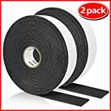 High Density Foam Tape, Seal Strip Self Adhesive Weather Stripping for Doors Seal and Window, Insulation Single Sided Foam Strips,2 Rolls(1/16'T,1'W,50FT per roll)