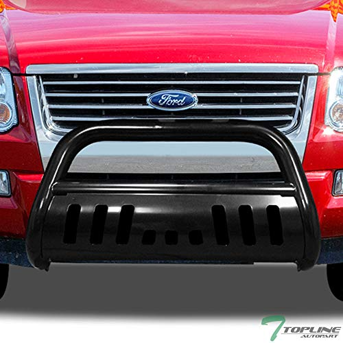 Topline Autopart Black Bull Bar Brush Push Front Bumper Grill Grille Guard With Skid Plate FRC For 06-10 Ford Explorer ; 07-11 Explorer Sport Trac