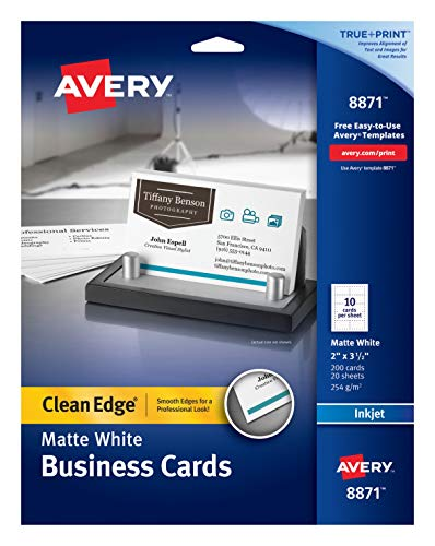 Avery Business Cards, 2 x 3-1/2 Inches, Inkjet Printable, Matte White, Pack of 200 ()