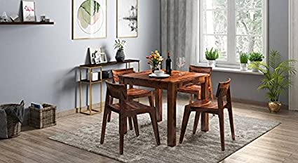 Woodstock Furniture Sheesham Wood Dining Table Set For Living And