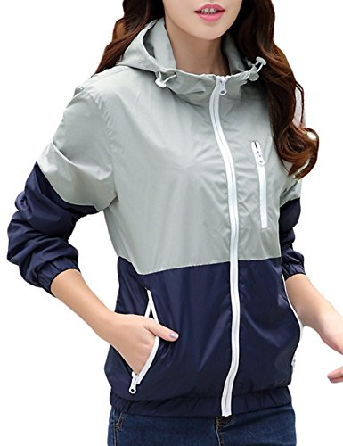 Women's Sun Protect Outdoor Jacket Quick Dry Windproof Water Repellent?Coat White Grey US L/Asian tag XL -