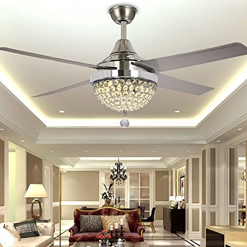 Sophisticated Iron Chandelier (TiptonLight Silver Crystal Ceiling Fan 44-Inch Iron Blades with Remote Control Modern Style for Bedroom,Living Room and Study)