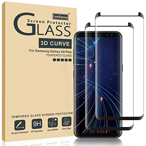LasGame Glass Screen Protector for Samsung Galaxy S8 Plus,[2 Pack] 3D Curved Tempered Glass, Dot Matrix with Easy Installation Tray, Case Friendly (Galaxy S8 Plus Tempered Glass Screen Protector)