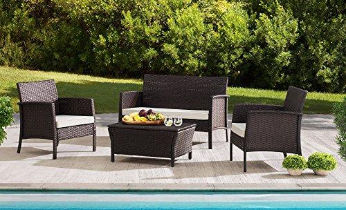 Sunjoy S-DN1630SST-B Furniture Seating Set Wicker Steel Patio by Sunjoy