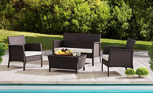 Sunjoy S-DN1630SST-B Furniture Seating Set Wicker Steel (Patio Furniture Deep Seating)