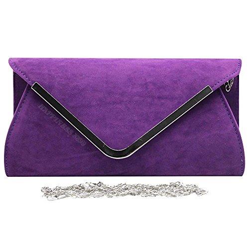Purple Wocharm Wedding Faux Prom Celebrity Suede Evening Bag Handbag Bag Designer Party Clutch Silver Women's Hand Trim Style Ladies ZqrwUZF